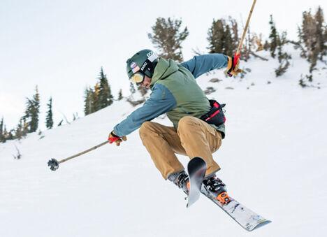 Man on skis getting air.