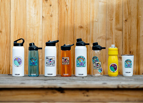 Lineup of 8 custom printed water bottles with limited edition Hannah Eddy Print.
