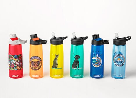 Six custom water bottles in multiple colors.