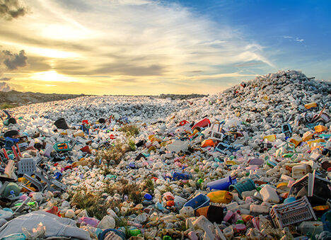 Plastic waste in landfill.