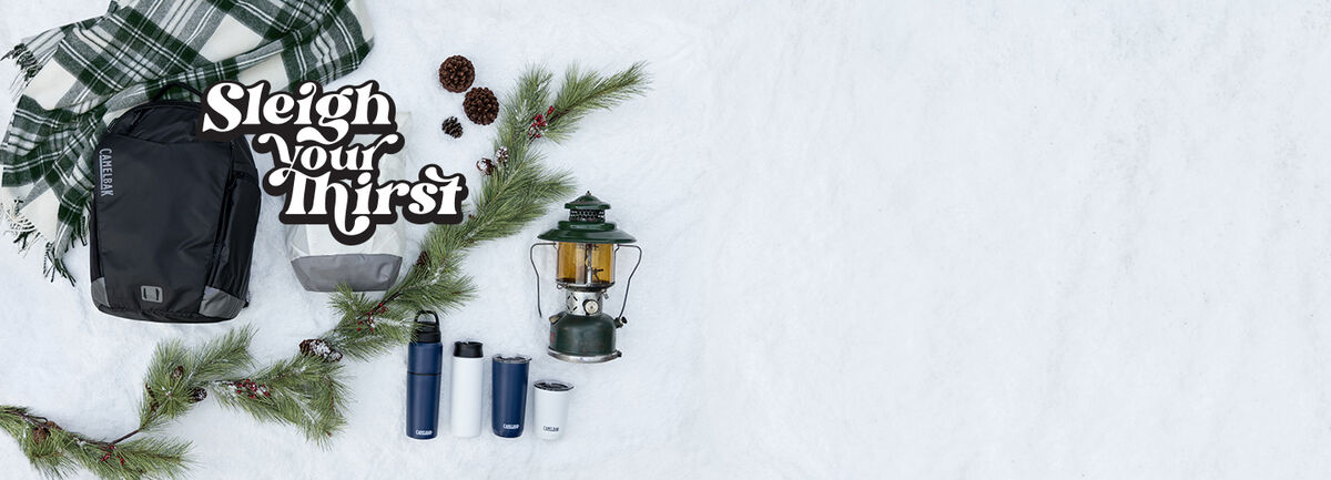 Selection of gifts on a snowy background.