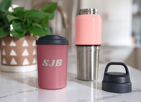 Custom engraved water bottle and travel mug