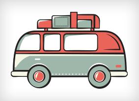 Van laden with luggage.