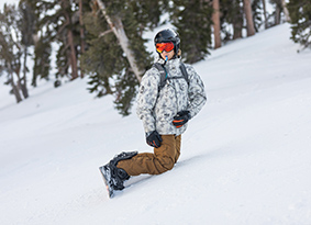 Snow boarder on the mountain.