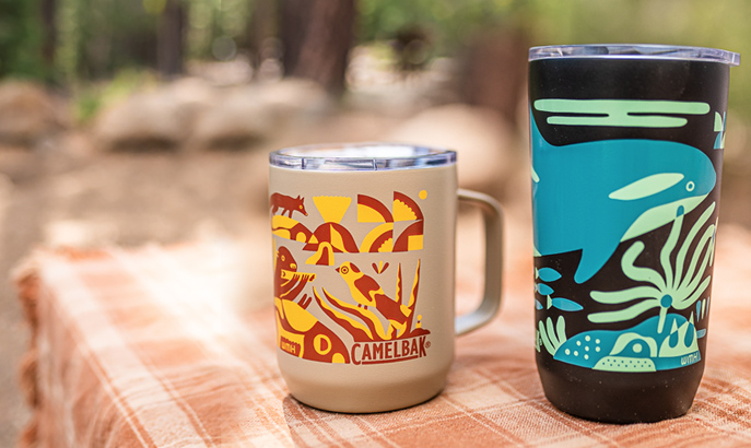 Two pieces of drinkware with Wyatt Hersey designs.