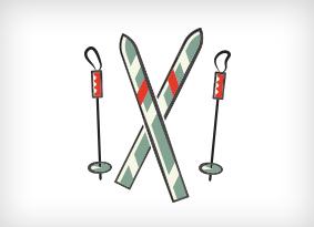 Illustration of skis and ski poles.