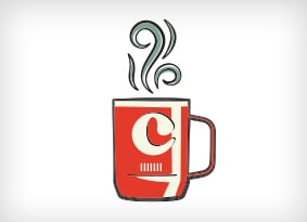 Illustration of a custom camp mug with steam rising.