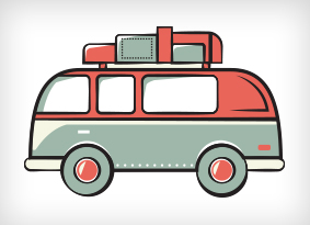 Illustration of a van packed up with gear to go adventuring.